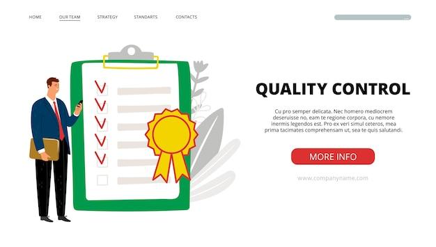 Controle de qualidade da página de destino.