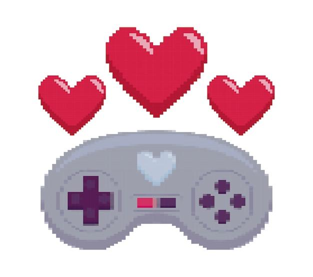Controle de videogame com pixelate de coração