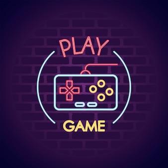 Controle de videogame em ilustração de ícone de estilo neon de parede