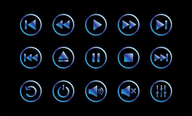 Controle do reprodutor de mídia. botão play.