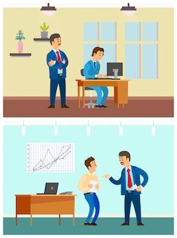 Controle do trabalhador e trabalho ruim, rotina de trabalho de escritório