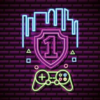 Controle número um e videogame, parede de tijolos, estilo neon