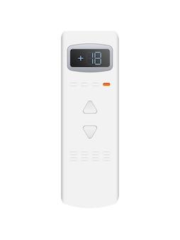 Controle remoto branco do ar condicionado 3d. controle remoto de vetor realista. isolado em um fundo branco.