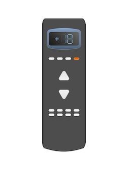 Controle remoto preto do ar condicionado 3d. controle remoto de vetor realista. isolado em um fundo branco.