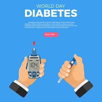 Controle sua ilustração do conceito de diabetes com as mãos e o medidor de glicose no sangue