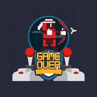 Controles de joystick pixelizados de videogame e guerreiro de tiro com arco