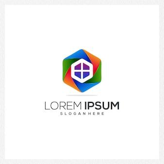Contruction logotipo ícone moderno colorido empresa negócios novo estilo especial