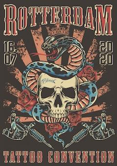 Convenção de tatuagem no cartaz colorido de roterdã