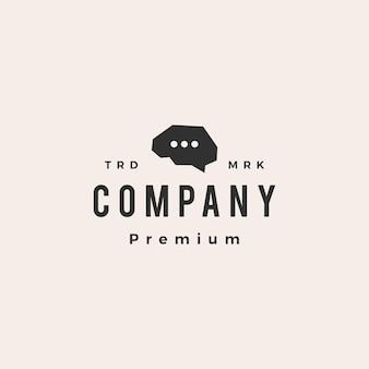 Conversa cerebral, chat hipster modelo de logotipo vintage