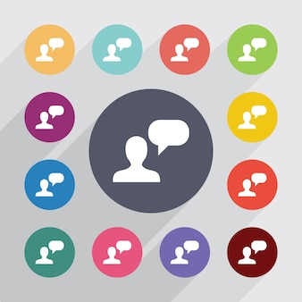 Conversa, conjunto de ícones simples. botões coloridos redondos. vetor