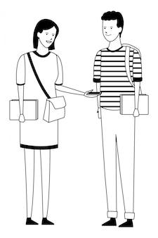 Conversa de casal de equipamento de estudante