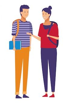 Conversa de casal de roupa casual