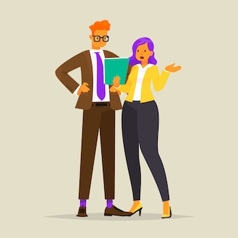 Conversa de duas pessoas de negócios. discussão do trabalho, ilustração em estilo simples