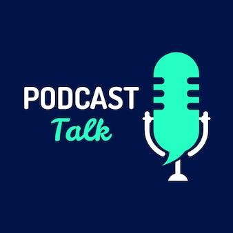 Conversa de podcast de logotipo com microfone