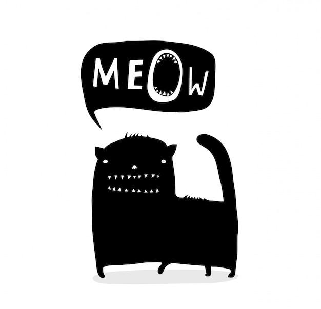Conversa engraçada manchada de tinta meow
