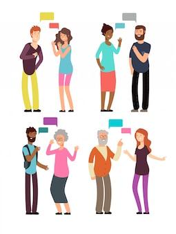 Conversa entre pessoas de diferentes idades, gêneros e nacionalidades