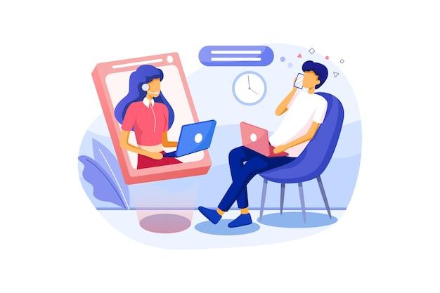 Conversa móvel de homem com mulher jovem de apoio