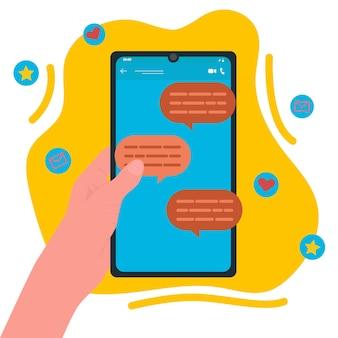 Conversa online. correspondência nas redes sociais. ilustração vetorial plana