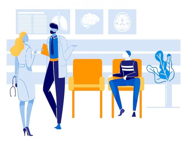 Conversação de médicos e discussão sobre saúde do paciente