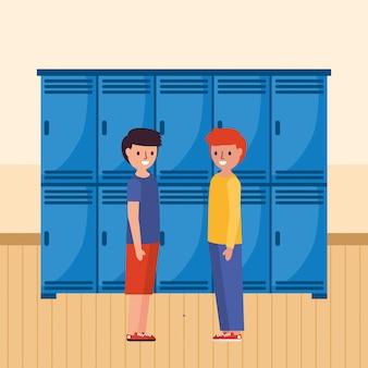 Conversando com alunos na escola