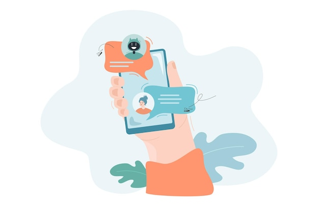 Conversando com bot online obtendo ajuda no conceito de suporte online da tecnologia de assistência do messenger