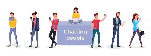 Conversando com pessoas usando diferentes gadgets
