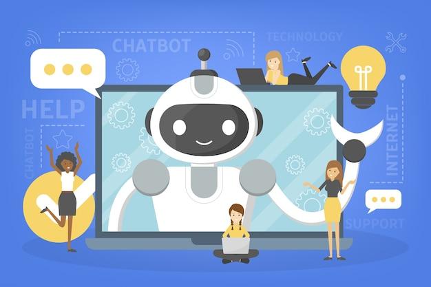 Conversando com um chatbot online no laptop. comunicação com um bot de bate-papo. atendimento e suporte ao cliente. conceito de inteligência artificial. ilustração