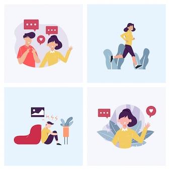 Conversando, cumprimentando, exercitando e depressão no conjunto de ilustração do conceito