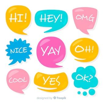 Conversando frases na coleção de bolhas coloridas