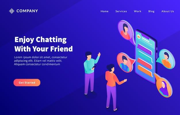 Conversando on-line com amigos para obter um modelo de site ou página inicial de destino