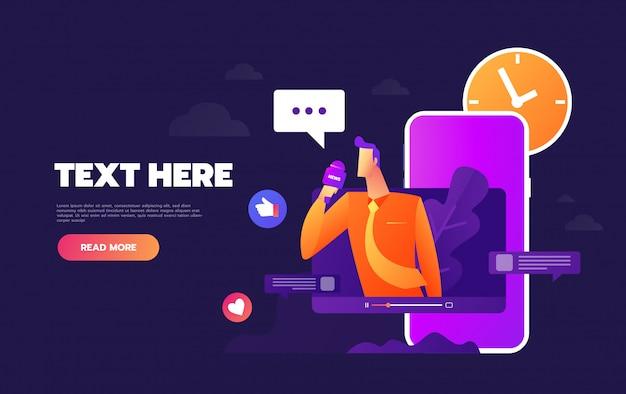 Conversando pela internet usando o modelo de página de destino do celular