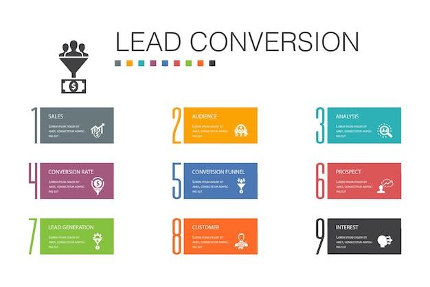 Conversão de chumbo infográfico 10 linha de opção conceito. vendas, análise, cliente potencial, ícones simples de cliente