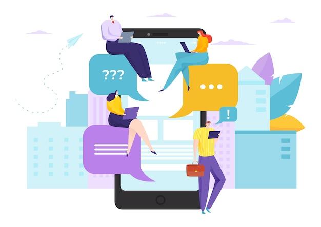 Converse com texto em ilustração de aplicativo de mídia social on-line para smartphone