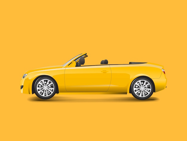 Conversível amarelo em um vetor de fundo amarelo