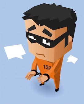 Convict on orange uniform