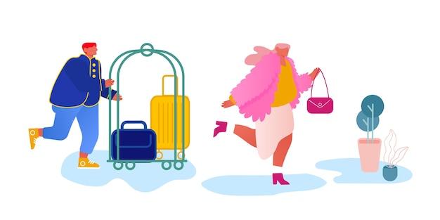 Convidado da reunião da equipe do hotel no corredor, carregando bagagem no carrinho.