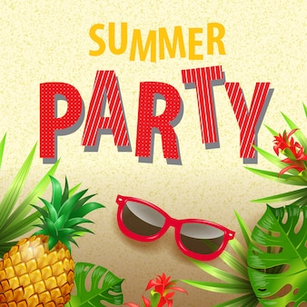 Convite à moda da festa de verão com folhas, flores, óculos de sol e abacaxi tropicais.
