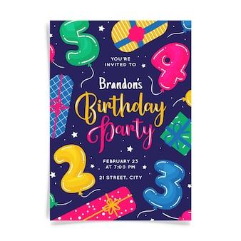 Convite abstrato cartão de aniversário