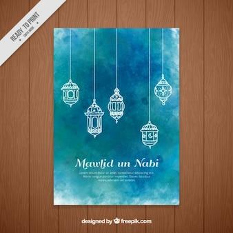 Convite aguarela mawlid de lanternas ornamentais