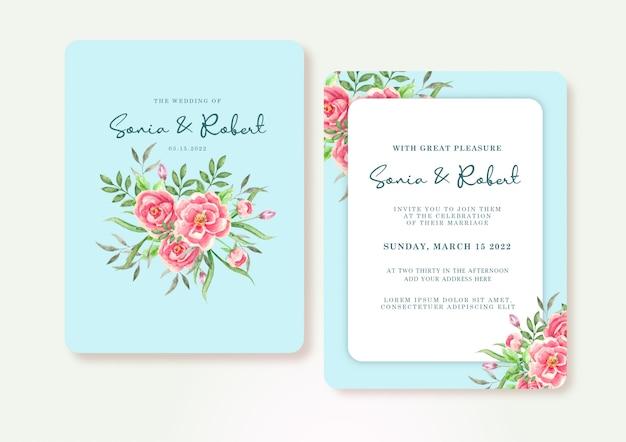 Convite azul com modelo de plano de fundo aquarela flores rosa
