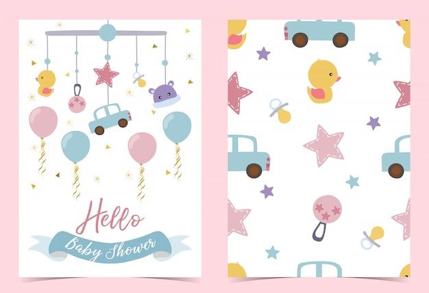 Convite azul cor-de-rosa do aniversário com pacifier