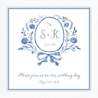 Convite azul do casamento com um logotipo