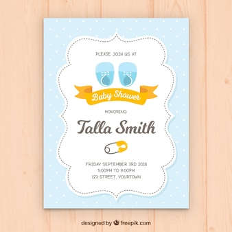 Convite azul elegante da festa do bebé