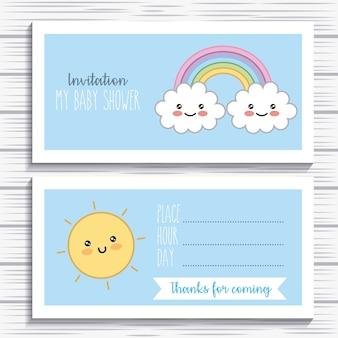 Convite bebê chuveiro kawaii arco-íris nuvem sol decoração