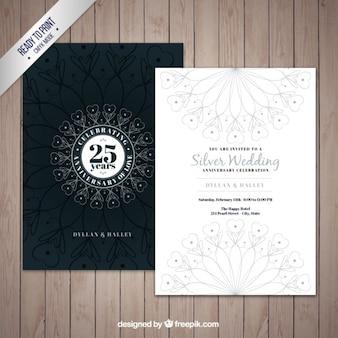Convite bodas de prata decorativa