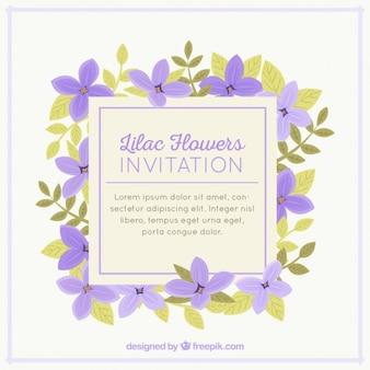 Convite bonito com flores lilás