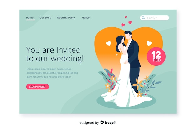 Convite bonito da página de destino do casamento