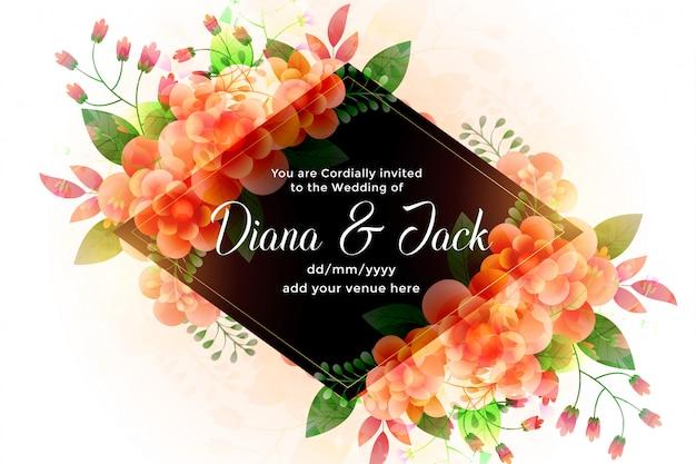 Convite bonito do cartão de casamento das flores