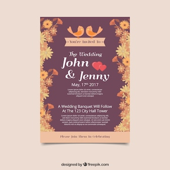 Convite bonito do casamento com flores e pássaros bonitos