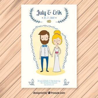 Convite bonito do casamento com newlyweds